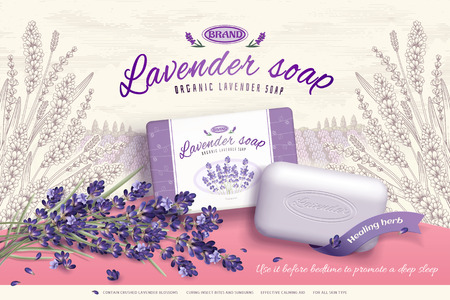 Lavender soap ads with blooming flowers ingredients in 3d illustration, engraved elegant garden background