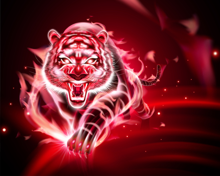 Vicious tiger with red burning flame in 3d illustration