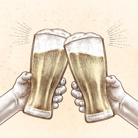 Hände halten Biergläser und jubeln miteinander in graviertem Stil, beige und gelbe Farbe Vektorgrafik