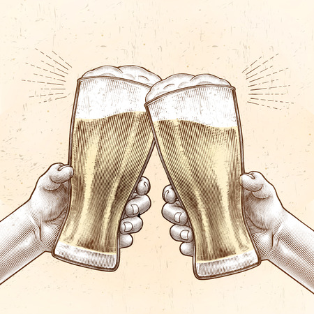 Hands holding beer glasses and cheering with each other in engraved style, beige and yellow color
