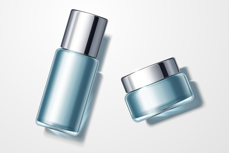 Top view of blue cosmetic containers set, cream jar and glass tall bottle in 3d illustration