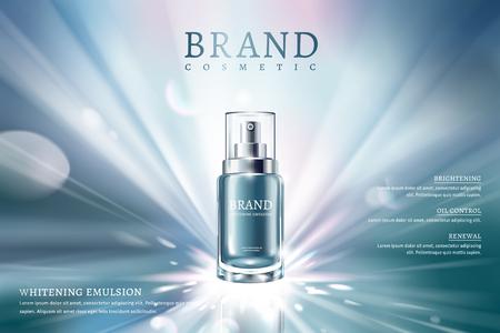 Annunci spray per la cura della pelle con contenitore blu e sfondo luminoso da sogno nell'illustrazione 3d