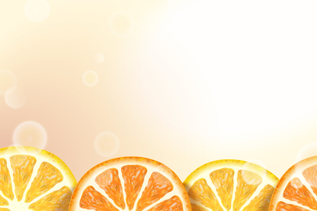 Refreshing citrus sections background with bokeh glowing elements in 3d illustration