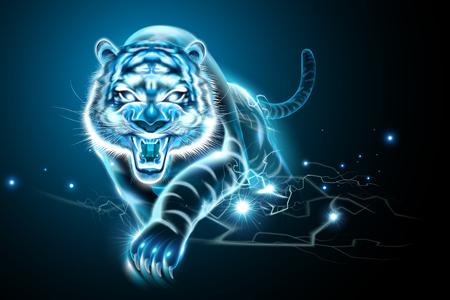 Tigre vicieux avec effet de foudre dans le ton bleu