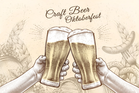 Oktoberfest celebration design in engraved style, hands holding beer glasses and cheering on background filled with ingredients