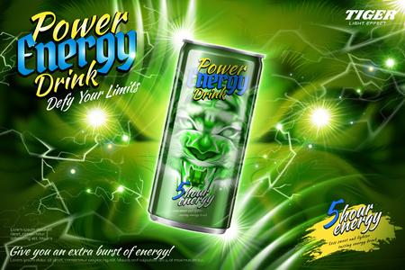 Anuncios de bebidas energéticas con efecto de rayo verde en la ilustración 3d