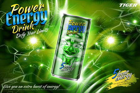 Power energy drink ads with green lightning effect in 3d illustration