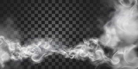 Smoke floating in the air in 3d illustration on transparent background