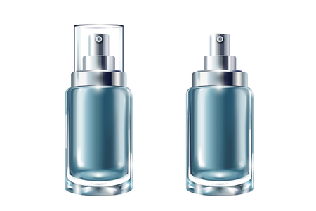 Blue cosmetic containers set, spray bottles in 3d illustration on white background Stock Illustratie