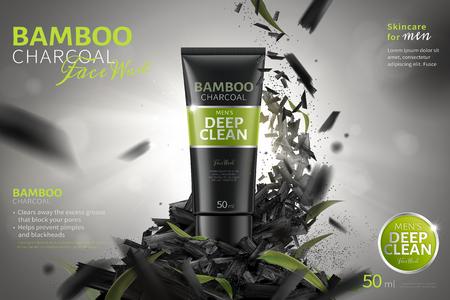 Reklamy do mycia twarzy z bambusowym węglem drzewnym z pokruszonymi węglami unoszącymi się w powietrzu na ilustracji 3d