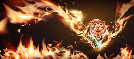 Vicious tiger with burning flame in 3d illustration