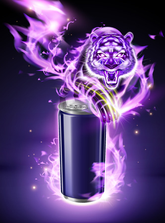 Blank aluminum can with vicious tiger and purple burning flame in 3d illustration