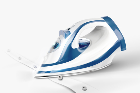 Ironing a white shirt in 3d illustration, closeup look
