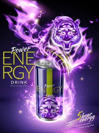 Power energy drink ads with purple flame tiger effect in 3d illustration