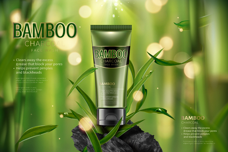 Annonces de lavage de visage au charbon de bambou en illustration 3D, scène de forêt de bambou tranquille avec des feuilles et du carbone