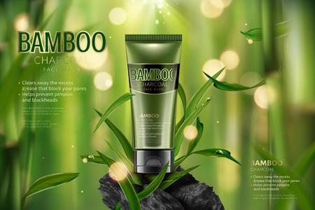 Anuncios de lavado de cara de carbón de bambú en la ilustración 3d, escena de bosque de bambú tranquilo con hojas y carbono