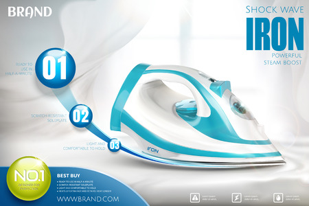 Ironing advertisement with blue and white iron on white interior background in 3d illustration Stock Illustratie