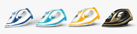 Four different colored irons set in 3d illustration on white background Иллюстрация
