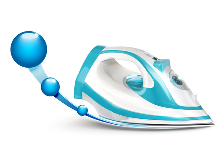 Blue and white designed iron with glossy sphere effect on white background in 3d illustration Illustration