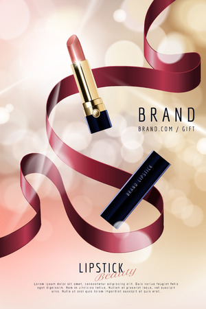 Lipstick ads with decorative ribbons on selective focus background in 3d illustration Illustration
