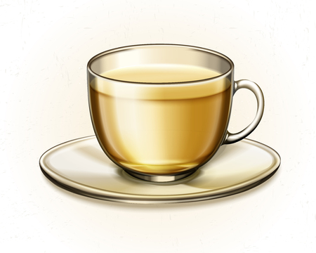 Tea in glass cup in 3d illustration on white background Illustration