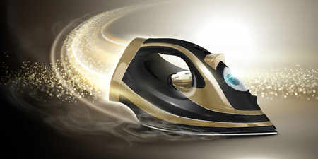 Cool golden and black iron with glittering tail effect in 3d illustration
