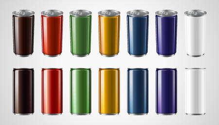 Colorful aluminum cans mockup set in 3d illustration