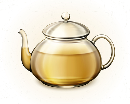 Tea in glass teacup in 3d illustration on white background
