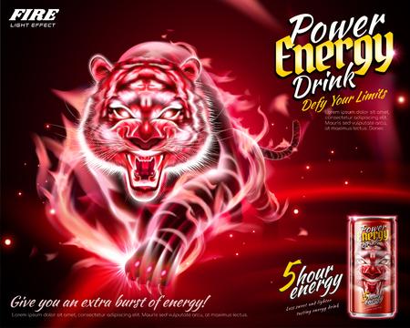 Annonces de boissons énergisantes avec effet tigre de flamme en illustration 3d