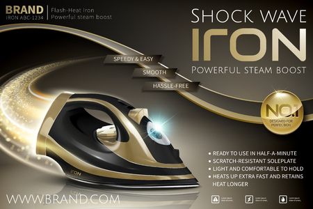 Black and golden color iron with glittering comet tail effect in 3d illustration, appliance ads