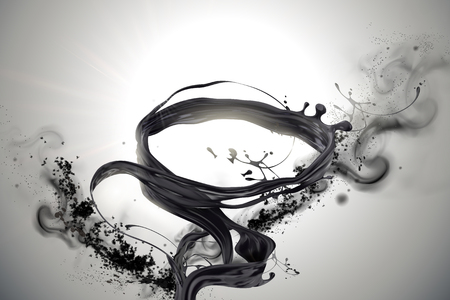 Swirling black liquids and ashes elements in 3d illustration