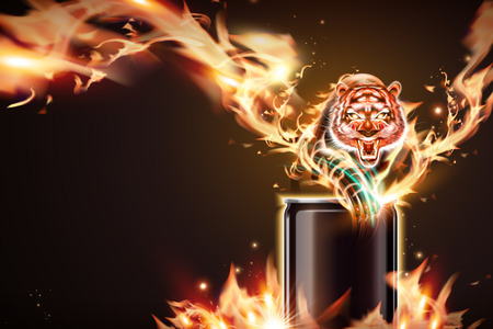 Blank aluminum can with vicious tiger and burning flame in 3d illustration 일러스트