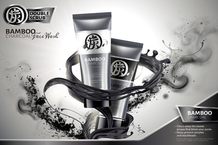 Bamboo charcoal face wash ads with black liquid and ashes swirling in the air in 3d illustration, Carbon in Chinese word on package and upper left 일러스트