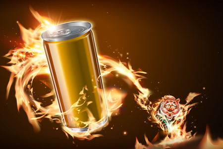 Blank aluminum can with vicious tiger and burning flame in 3d illustration  イラスト・ベクター素材