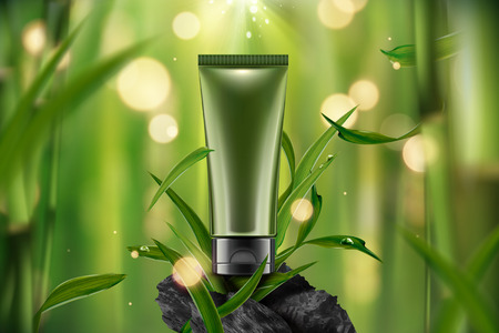Blank cosmetic plastic tube in 3d illustration on tranquil bamboo forest scene with leaves and carbon