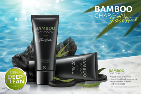Bamboo charcoal face wash ads with carbons on poolside in 3d illustration