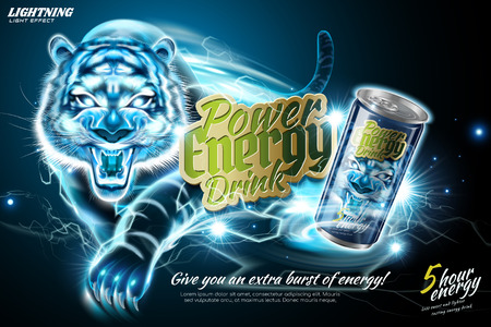 Power energy drink ads with lightning tiger effect in 3d illustration