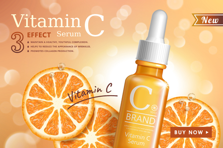 Vitamin C serum ads with refreshing citrus sections and droplet bottle in 3d illustration on glittering background