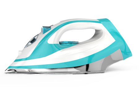 White and blue electric iron in 3d rendering