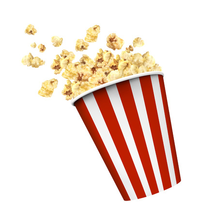 Striped box container with delicious popcorn in 3d illustration on white background Vectores