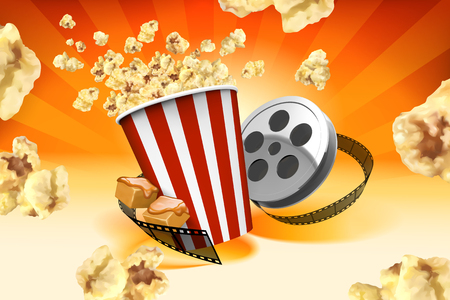 Caramel popcorn with film roll elements and corns flying in the air in 3d illustration, striped orange background Ilustração