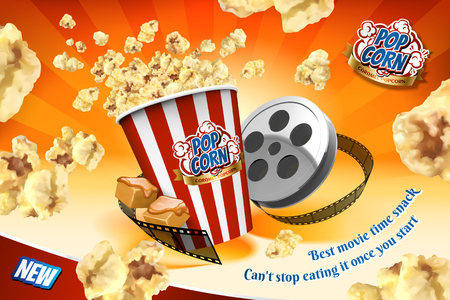 Caramel popcorn with film roll elements and corns flying in the air in 3d illustration, striped orange background