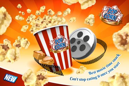 Popcorn al caramello con elementi in rotolo di pellicola e semi che volano nell'aria nell'illustrazione 3d, sfondo arancione a strisce