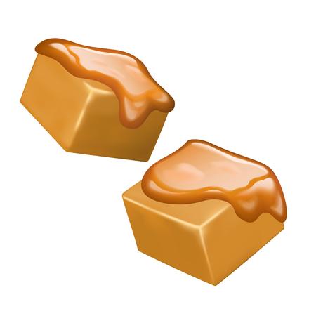 Bonbons au caramel sucrés et délicieux sur fond blanc, illustration 3d