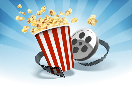 Popcorn with film roll elements in 3d illustration, striped bluebackground