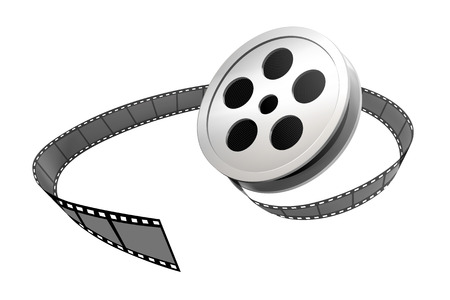 Rollo de película de plata y tira en 3d ilustración sobre fondo blanco.