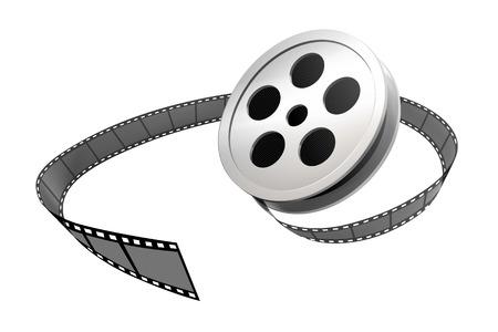 Zilver filmrol en strip in 3d illustratie op witte achtergrond