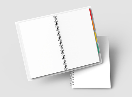 Floating white open hard cover books with colorful tags in 3d rendering on grey background, elevated view