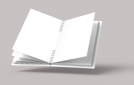 White hard cover open notebook on pale pinkish gray background in 3d rendering, elevated view