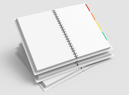 Pile of white open hard cover notebooks with colorful tags in 3d rendering on light grey background, elevated view